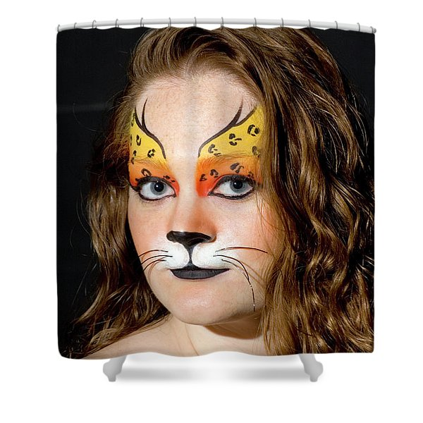 Young Female Model With Make Up Mask Shower Curtain