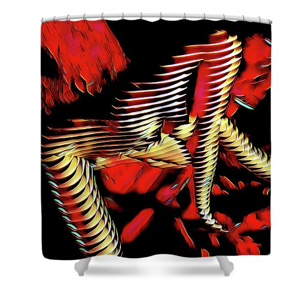 5787s-mak Nude Woman Art Rendered In Red Palette Knife Style Shower Curtain