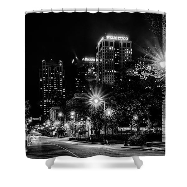 Shower Curtain featuring the photograph Birmingham Alabama Evening Skyline by Alex Grichenko