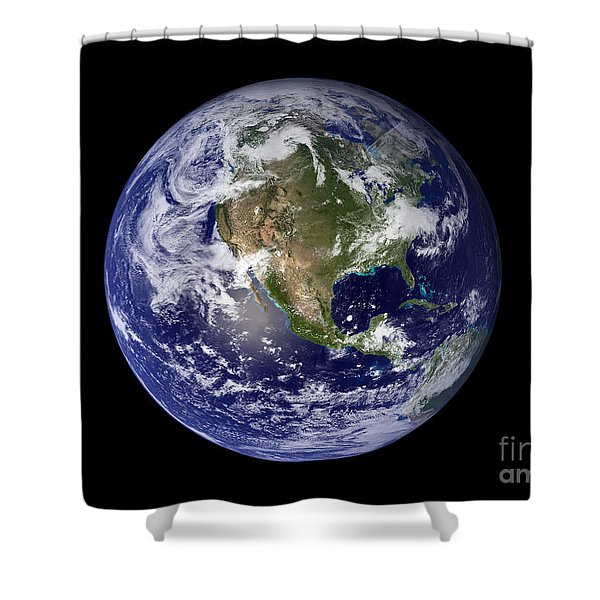 Full Earth Showing North America Shower Curtain by Stocktrek Images