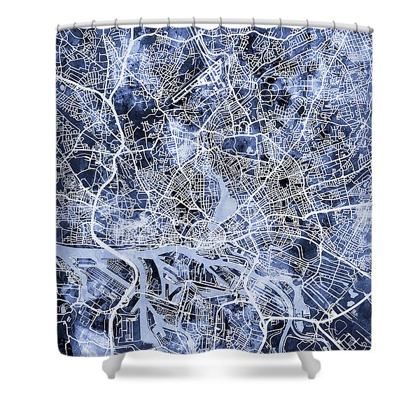 Hamburg Germany City Map Shower Curtain