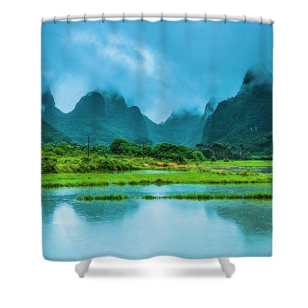 Karst Rural Scenery In Raining Shower Curtain