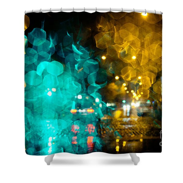 Shower Curtain featuring the photograph Night Lights On A City Abstract by Raimond Klavins