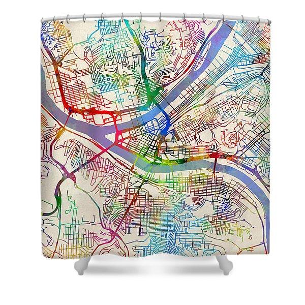 Pittsburgh Pennsylvania Street Map Shower Curtain