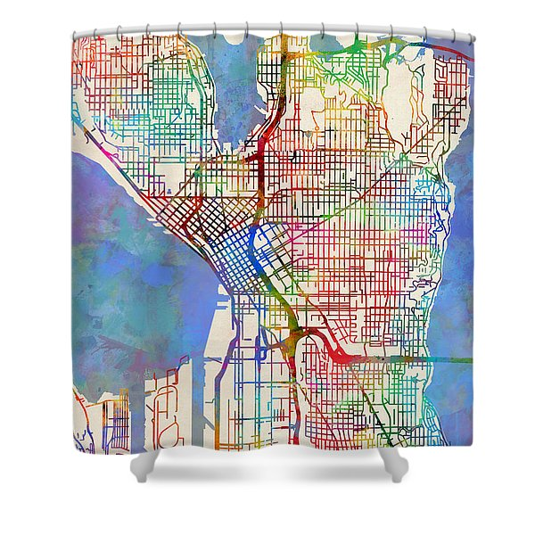 Seattle Washington Street Map Shower Curtain