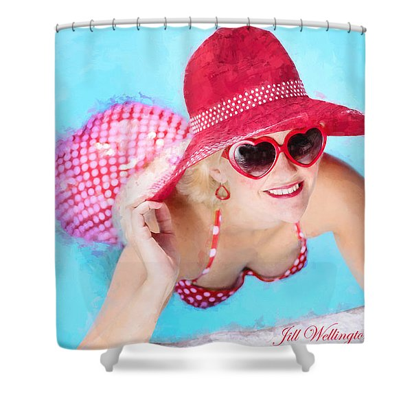 Vintage Val Poolside Shower Curtain