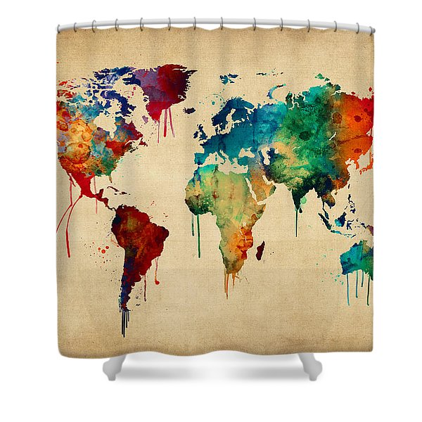 Watercolor Map Of The World Map Shower Curtain