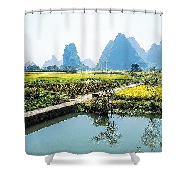 Rice Fields Scenery In Autumn Shower Curtain