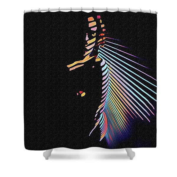 6580s-nlj Woman In Shadows By Window Zebra Striped Rendered In Composition Style Shower Curtain