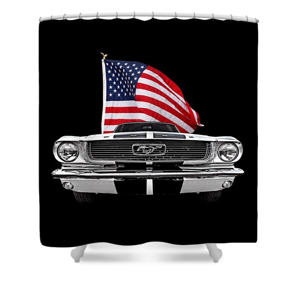 66 Mustang With U.s. Flag On Black Shower Curtain