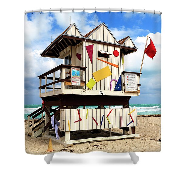 6th Street Station South Beach Shower Curtain