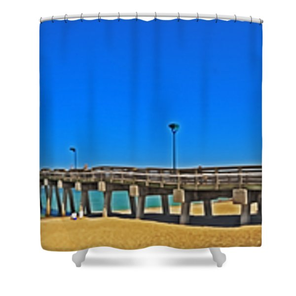 6x1 Venice Florida Beach Pier Shower Curtain