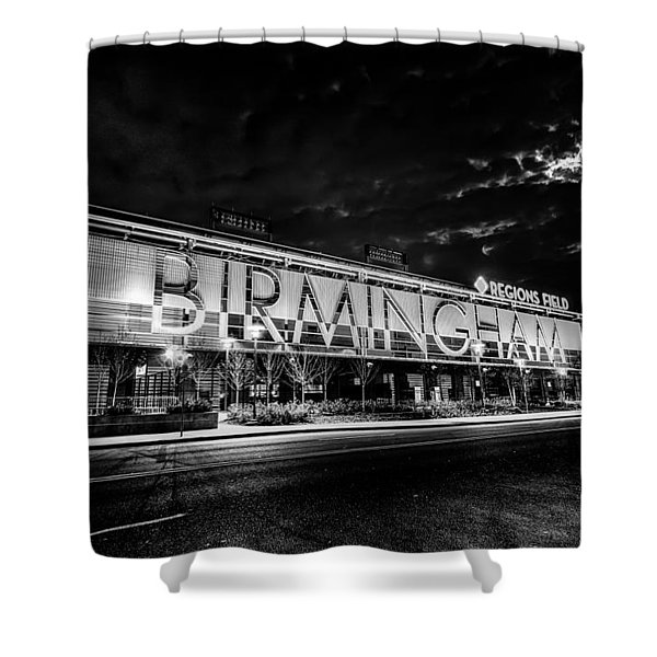 Shower Curtain featuring the photograph April 2015 - Birmingham Alabama Regions Field Minor League Baseb by Alex Grichenko