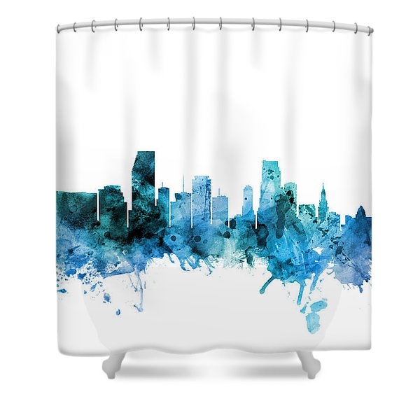 Miami Florida Skyline Shower Curtain