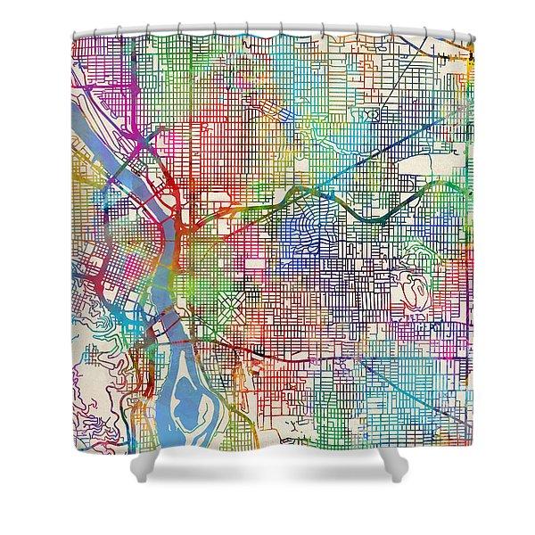 Portland Oregon City Map Shower Curtain