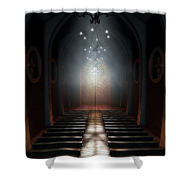Stained Glass Window Church Shower Curtain