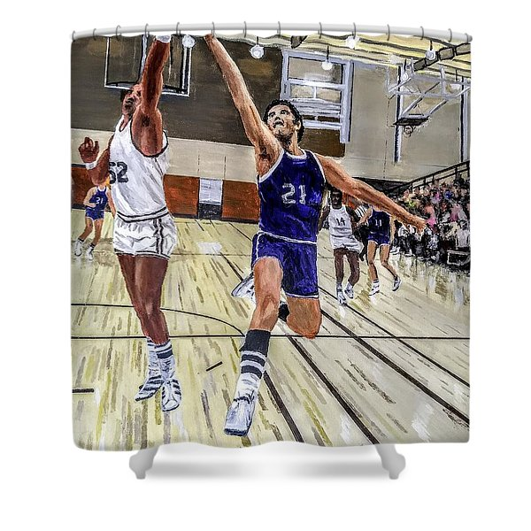Shower Curtain featuring the painting 70's Layup by Kevin Daly