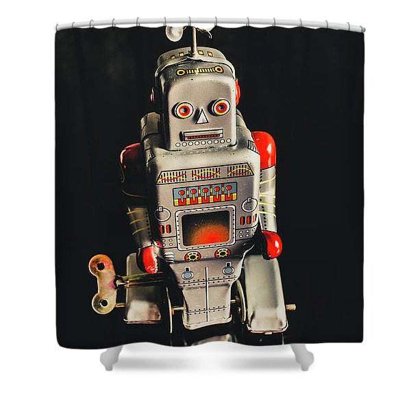 70s Mechanical Android Bot  Shower Curtain