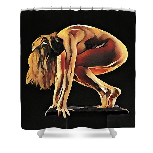 7188s-amg Nude Watercolor Of Sensual Mature Woman Shower Curtain