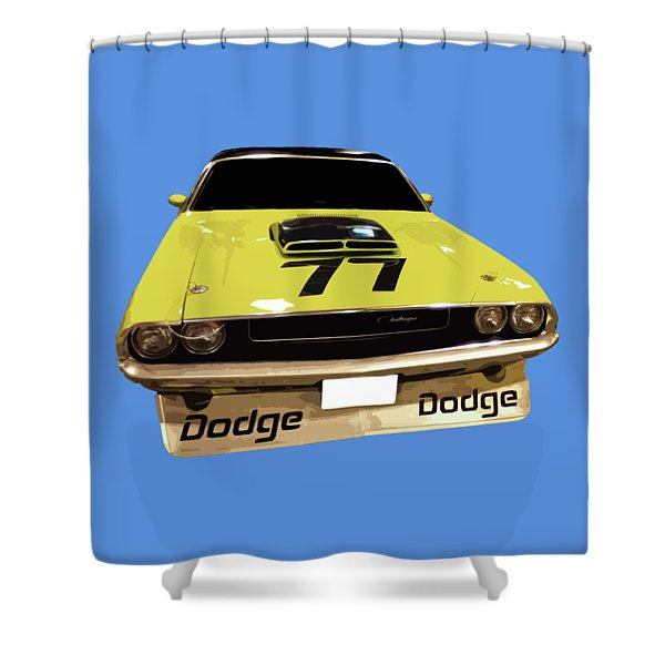 77 Yellow Dodge Shower Curtain