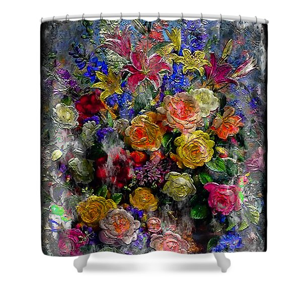 7a Abstract Floral Painting Digital Expressionism Shower Curtain