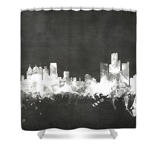 Detroit Michigan Skyline Shower Curtain
