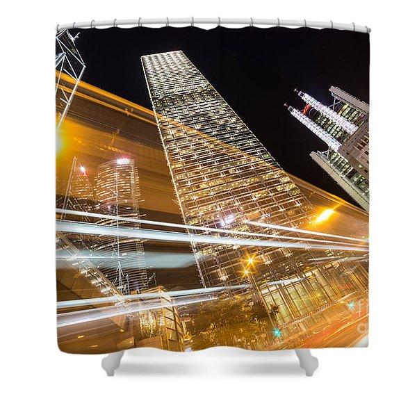 Hong Kong Night Rush Shower Curtain
