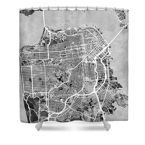 San Francisco City Street Map Shower Curtain