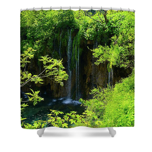 Waterfall In Plitvice National Park In Croatia Shower Curtain