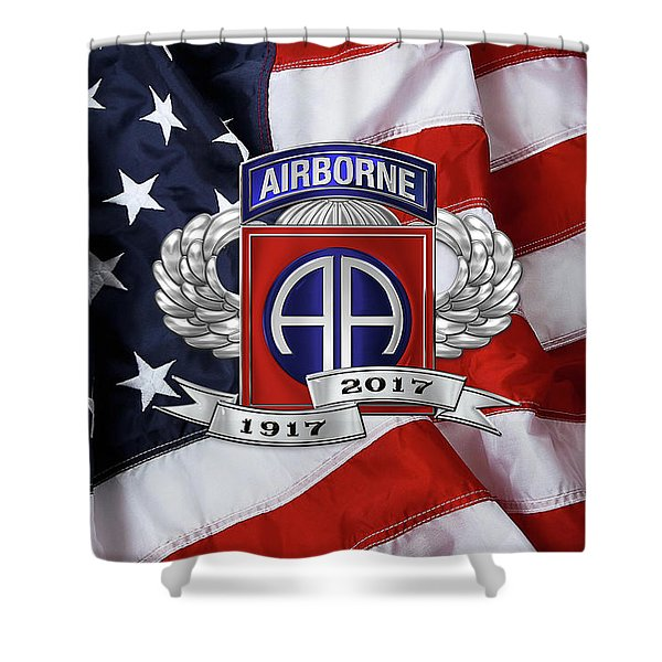 82nd Airborne Division 100th Anniversary Insignia Over American Flag  Shower Curtain