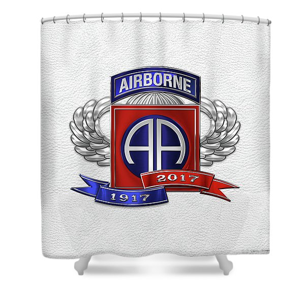 82nd Airborne Division 100th Anniversary Insignia Over White Leather Shower Curtain