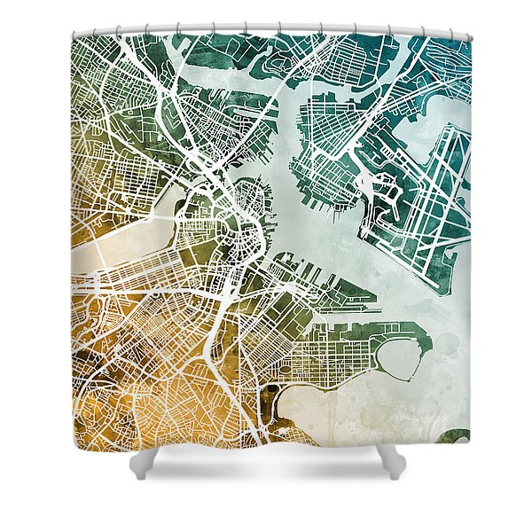Boston Massachusetts Street Map Shower Curtain