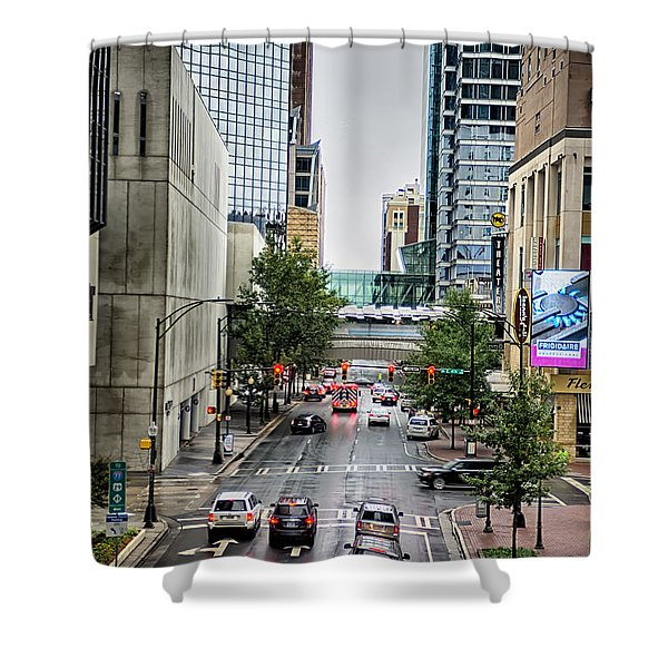 Shower Curtain featuring the photograph Charlotte North Carolina Views Around  Downtown by Alex Grichenko