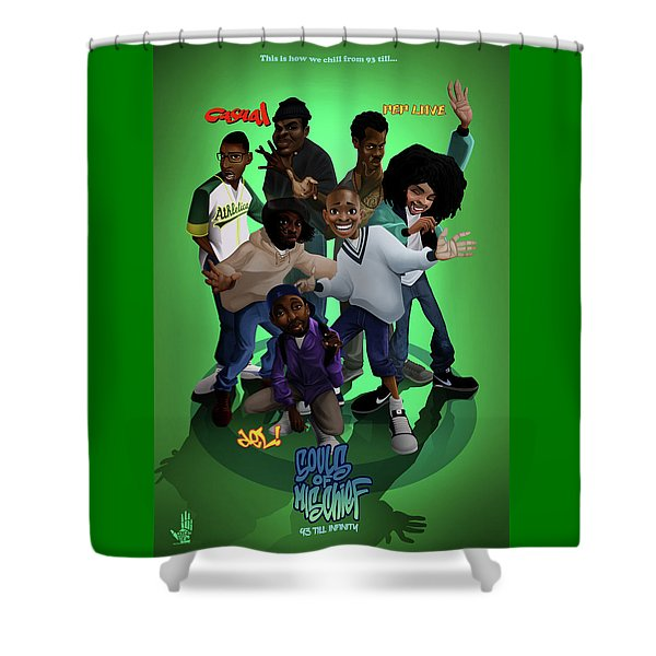 Shower Curtain featuring the digital art 93 Till by Nelson Garcia