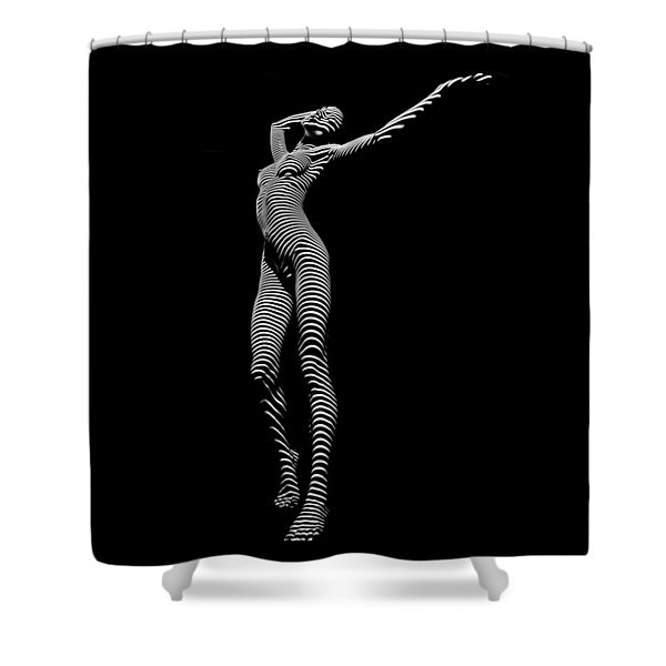 9705-dja Zebra Woman Flow Of Life Black White Striped Young Woman By Chris Maher Shower Curtain