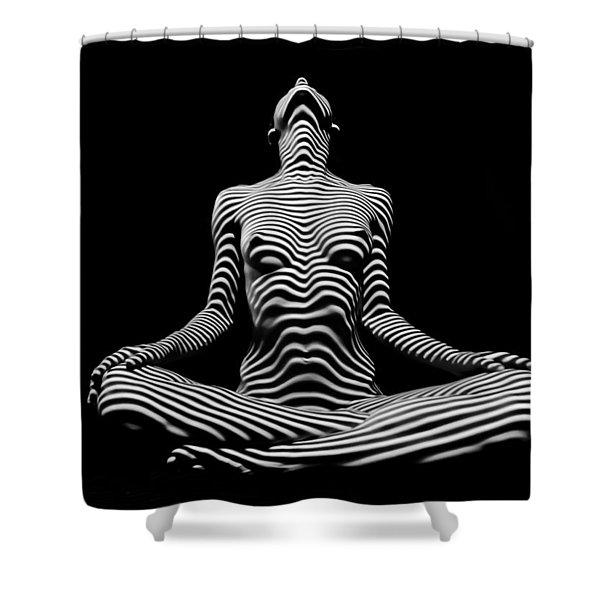 9934-dja Lotus Position In Zebra Stripes  Shower Curtain