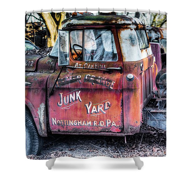 A Beautiful Rusty Old Tow Truck Shower Curtain