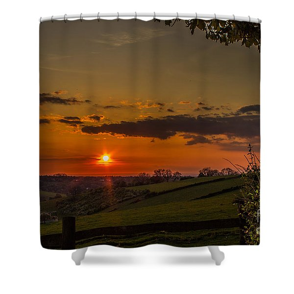 A Beautiful Sunset Over The Surrey Hills Shower Curtain