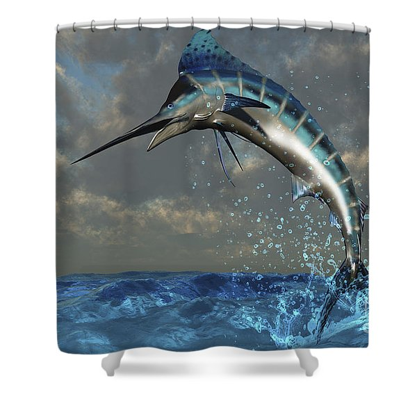A Blue Marlin Flashes Its Iridescent Shower Curtain