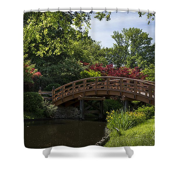 Shower Curtain featuring the photograph A Bridge To Cross by Andrea Silies