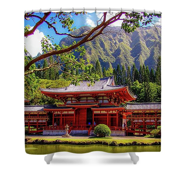 Buddhist Temple - Oahu, Hawaii - Shower Curtain