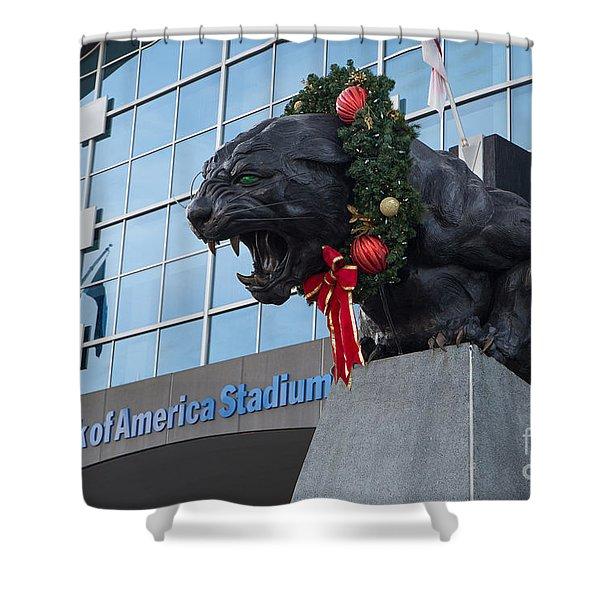 A Carolina Panthers Christmas Shower Curtain
