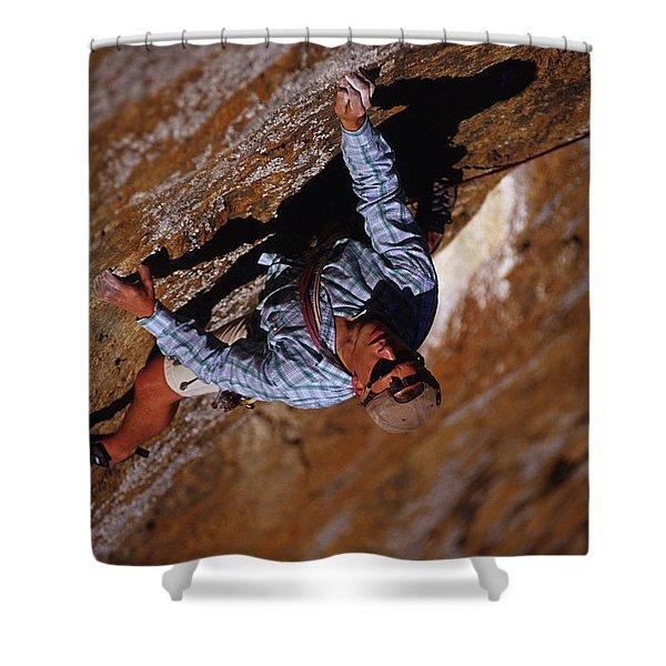 A Caucasian Man Rock Climbing In Kenya Shower Curtain