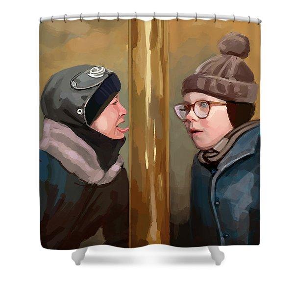 A Christmas Story Tongue Stuck To Pole Shower Curtain