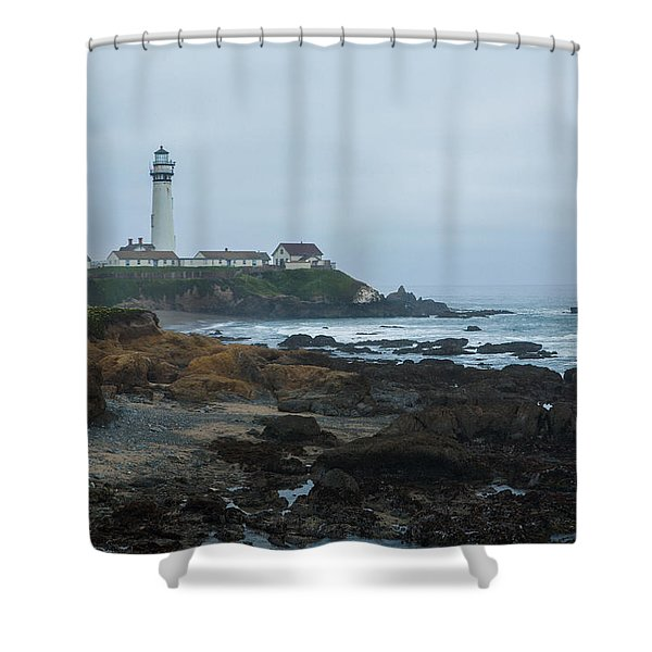 A Cloudy Day At Pigeon Point Shower Curtain