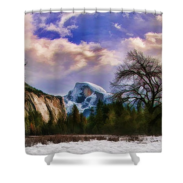 A Cold Yosemite Half Dome Morning Shower Curtain