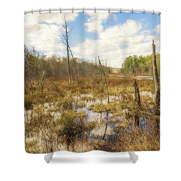 A Connecticut Marsh Shower Curtain