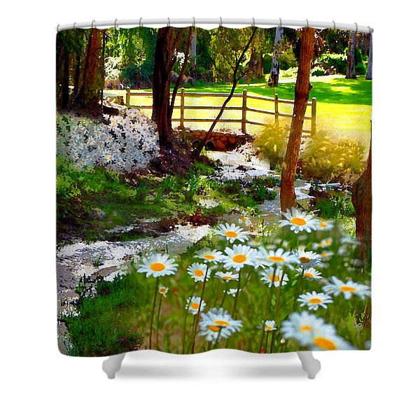 A Country Stream With Wild Daisies Shower Curtain