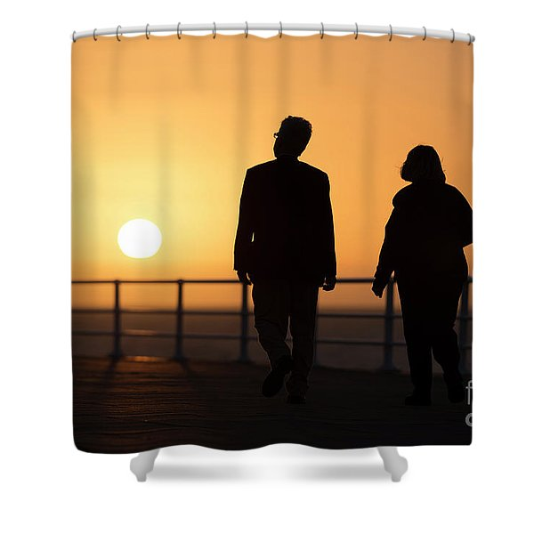 A Couple In Silhouette Walking Into The Sunset Shower Curtain