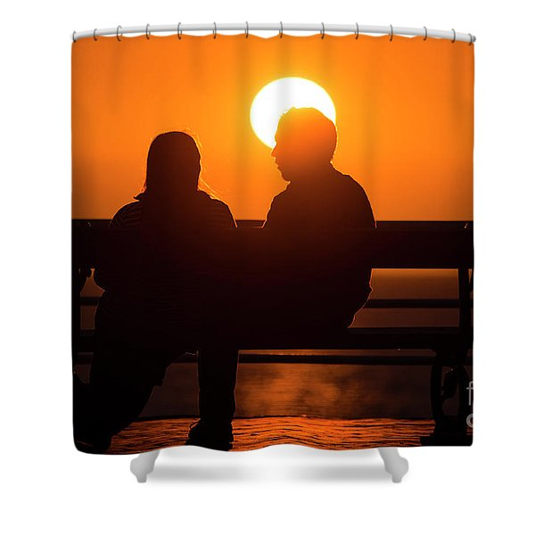 A Couple Sitting At Sunset Shower Curtain